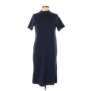 ASOS Navy Blue Jersey Knit Mock Neck Midi Dress